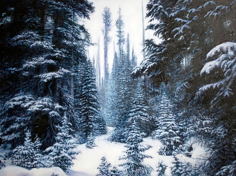 Colorado rocky mountains winter landscape painting for sale by artist Thane Gorek