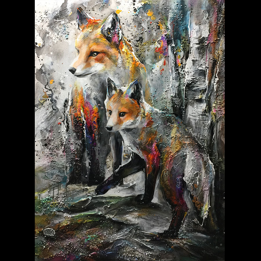 Young and Clever original fox painting by Miri Rozenvain