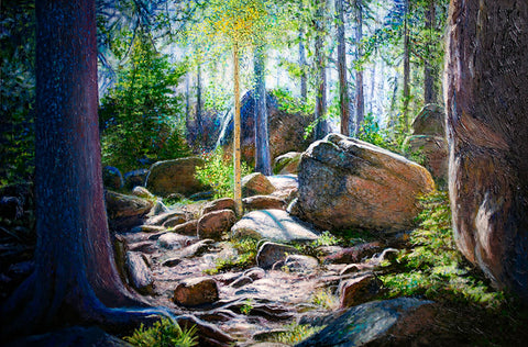 textured oil painting rocks and tree forest fine artist Thane Gorek