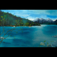 Spring Green watercolor mountain lake landscape painting artist Kay Stratman