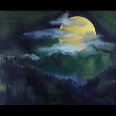 Wolf Moon mountain landscape painting by artist Kay Stratman