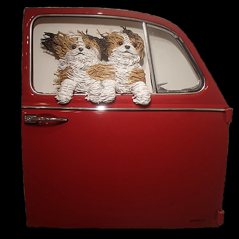 Two Shih Tzus in a Red VW Door