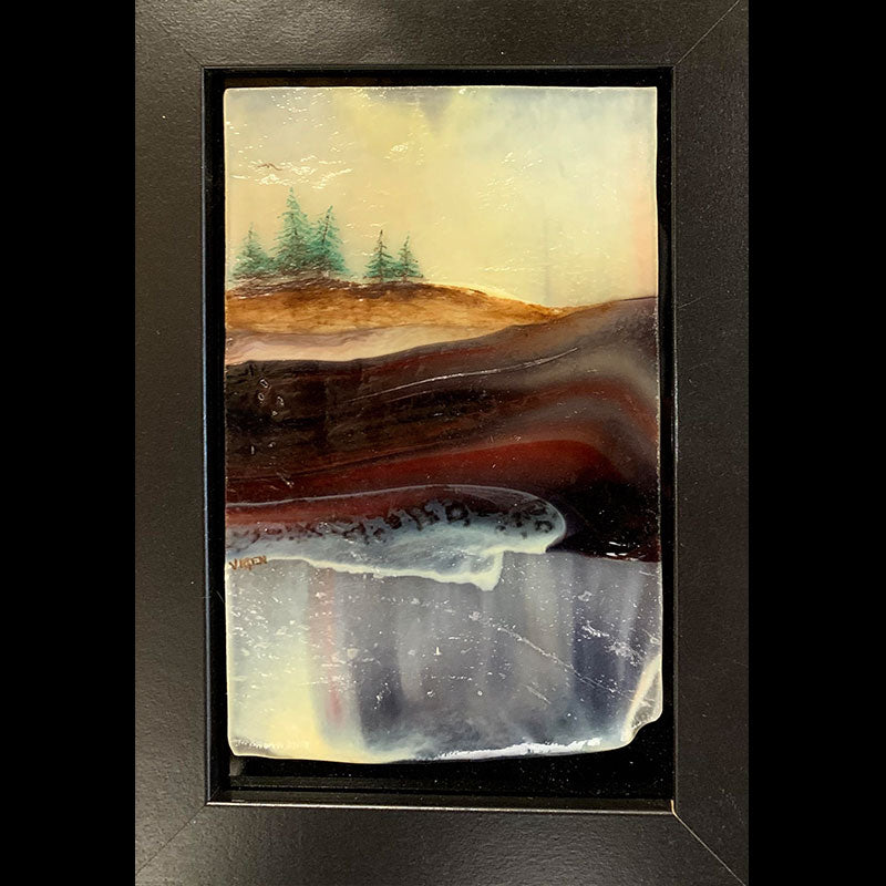 A Cool Morning original glass fired powdered painting by Colorado artist Gary Vigen