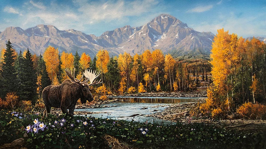 A River Runs Through It original oil on canvas mountain landscape with a wild moose in the fall by Colorado artist Maxine Bone