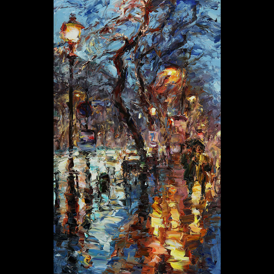 A Walk in the Rain original oil on canvas painting by Denver Colorado artist Lyudmila Agrich