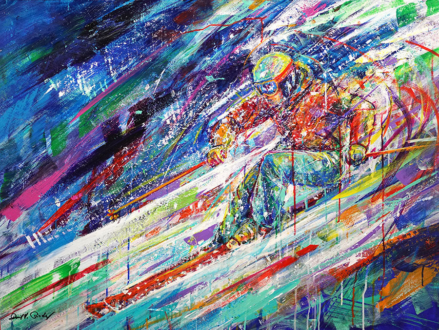 Acceleration original acrylic on panel colorful ski painting by Colorado artist David Gonzales