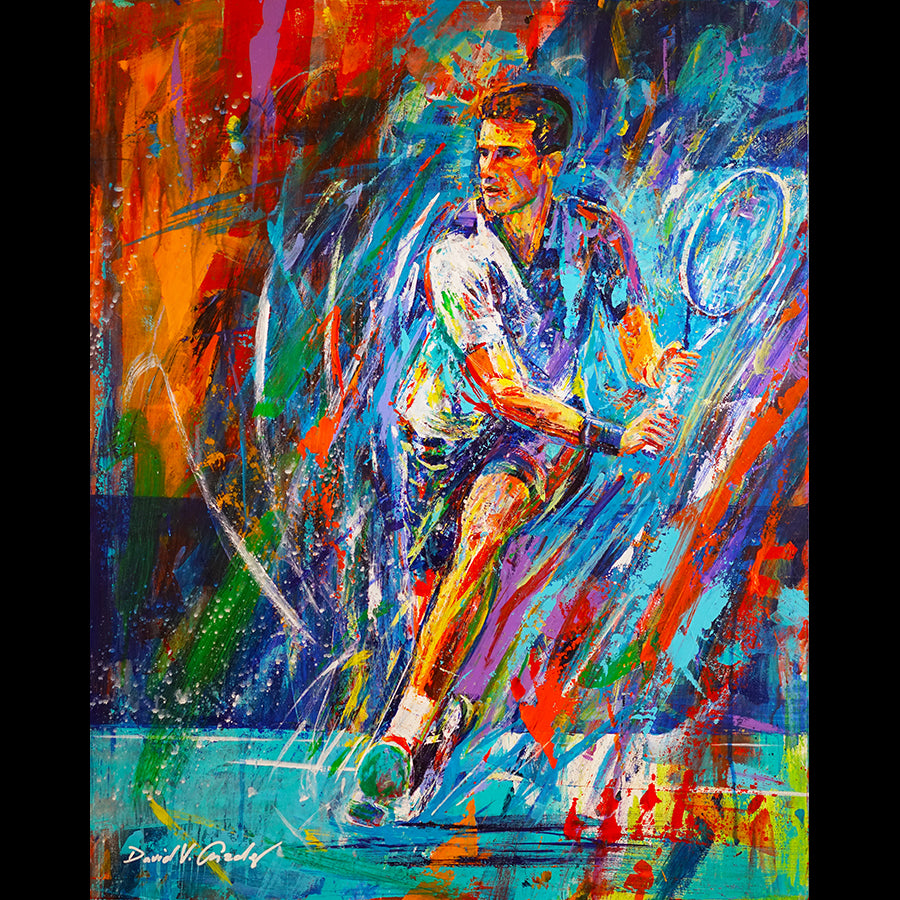 Anticipate tennis painting by artist David Gonzales