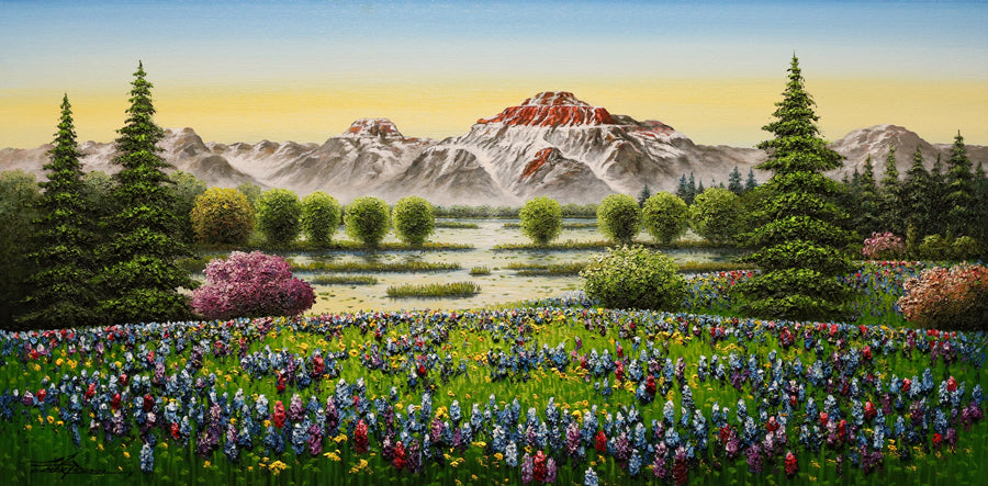 After A Long Hike original mountain painting by mario jung for sale