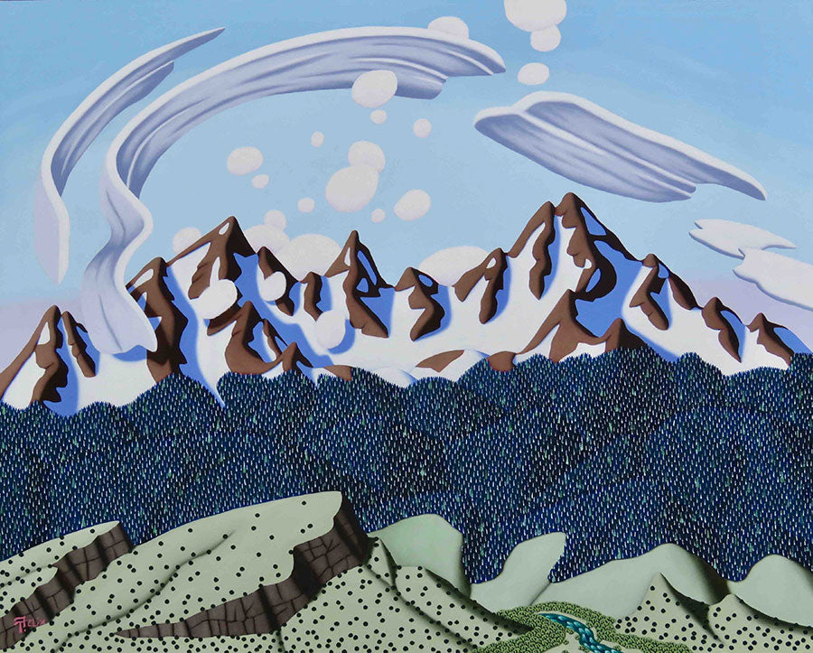 Air Flow Original Mountain Landscape Painting by Artist Tracy Felix