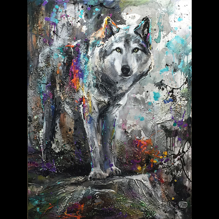 Alpha Features original mixed media wolf painting by Canadian artist Miri Rozenvain