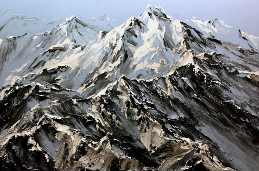 Alpine Glory original mountain landscape painting by artist Barak Rozenvain