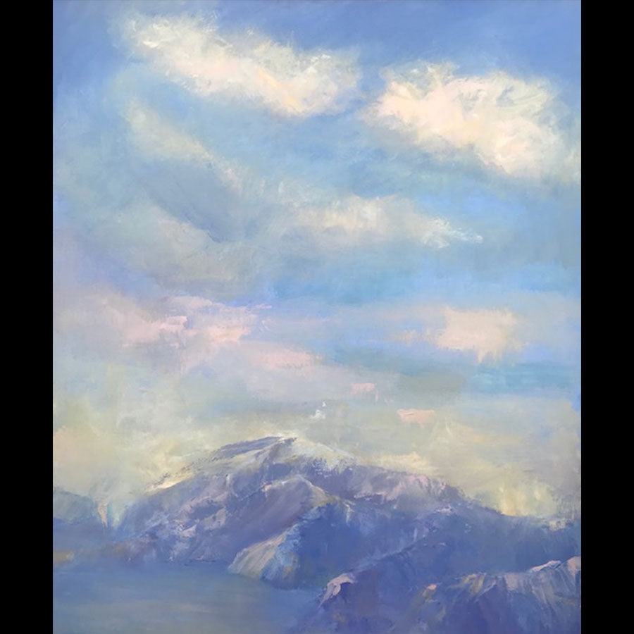 Alpine Glow original oil on canvas landscape painting by Boulder Colorado artist Judy Greenan