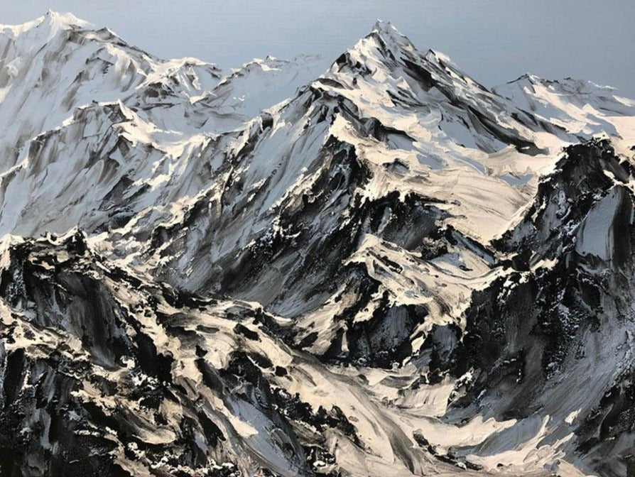 Always Mountainside original mixed media mountain landscape by Canadian artist Barak Rozenvain