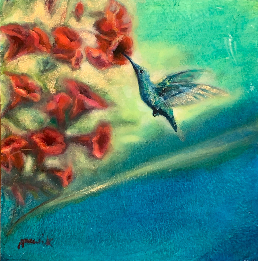 Anna's Hummingbird 2 original bird painting by noemi kosmowski for sale at Raitman Art Galleries