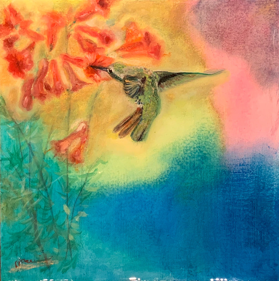 Anna's Hummingbird oil painting by Noemi Kosmowski for sale at Raitman Art Galleries
