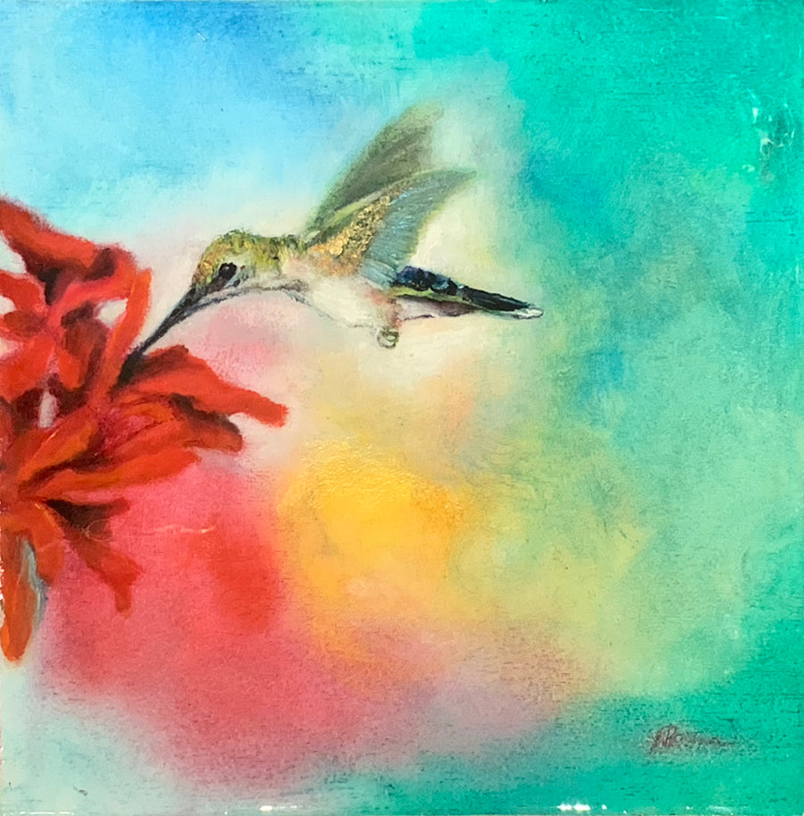 Anna's Hummingbird original painting by artist noemi kosmowski for sale