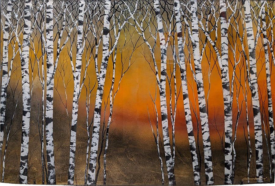 Aspen Glow original aspen painting by artist Christopher Owen Nelson
