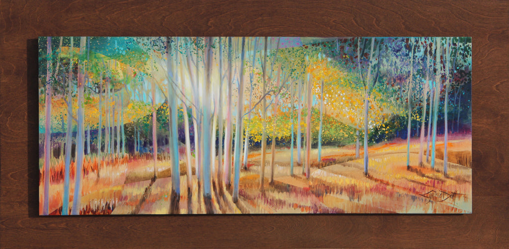 Cynthia Original Painting on Wood of Aspens: Aspen Radiance