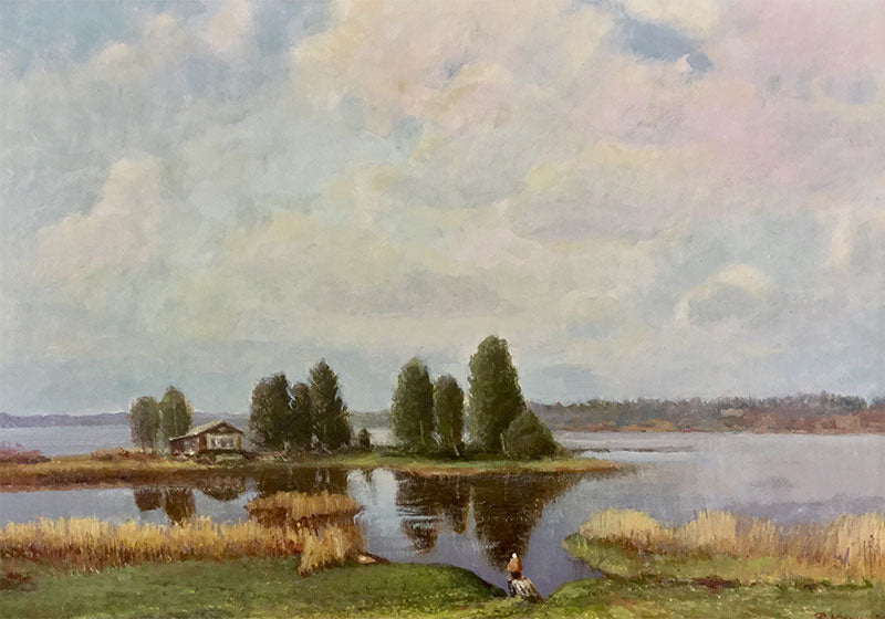 At Lake Mstino, 1985 original oil on canvas painting by russian artist Vladimir Pavlovich Krantz