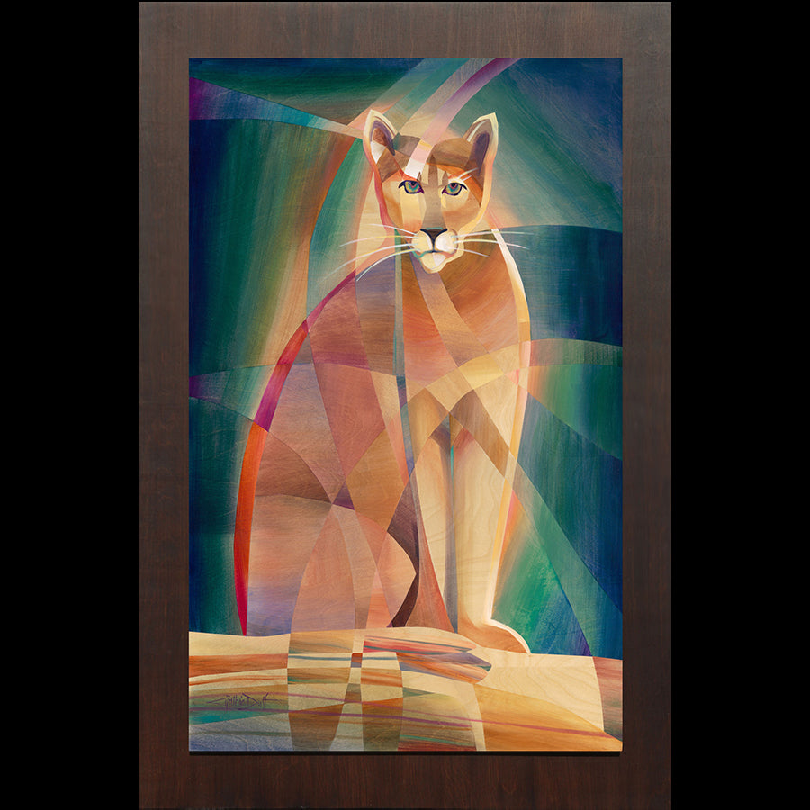 Colorado artist Cynthia Duff Original Painting on Wood of Mountain Lion: Auru of Courage