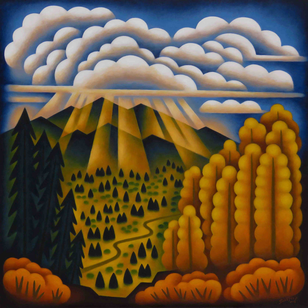 Autumn Valley Sunbeams original acrylic on panel landscape painting by Colorado artist Sushe Felix