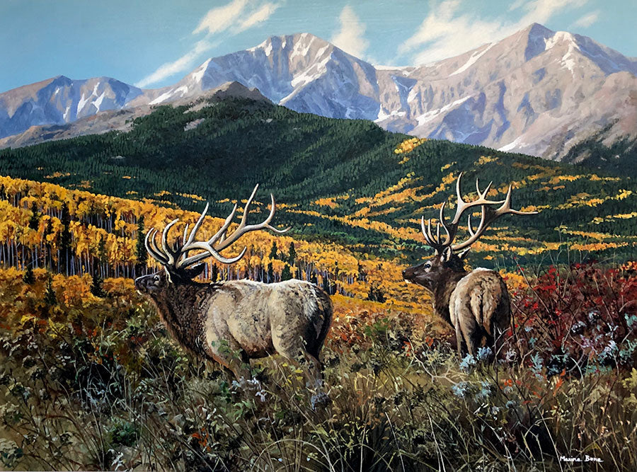 Autumn Valley original oil on canvas autumn mountain landscape with wildlife elk by Colorado artist Maxine Bone