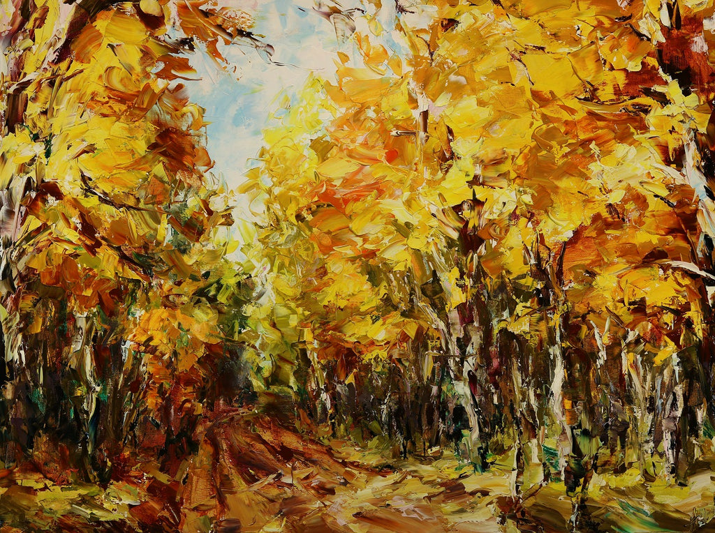 Autumn Path original oil on canvas painting by colorado artist Lyudmila Agrich