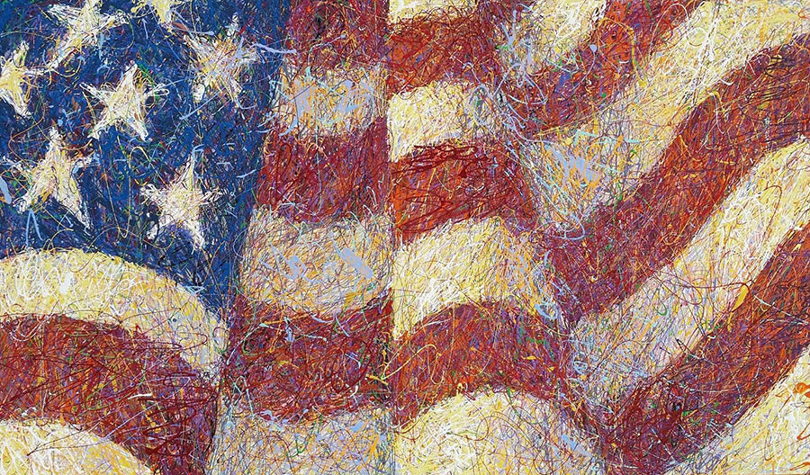 american flag drip painting by artist andy baird