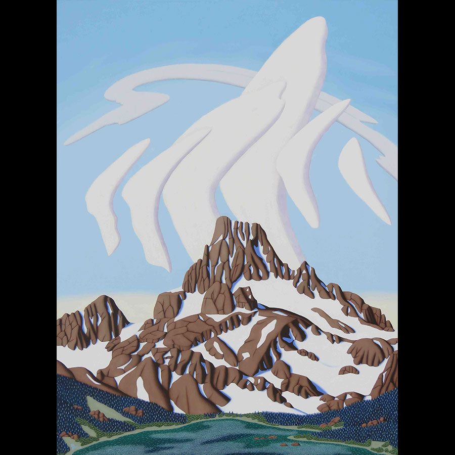 Banner Peak Sierra Nevada Range original oil on panel landscape mountain painting by Denver Colorado artist Tracy Felix