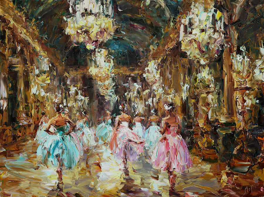 Baroque Ballet original oil on canvas painting by Denver Colorado artist Lyudmila Agrich