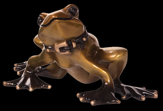 Basel the frog bronze sculpture by artist Marty Goldstein