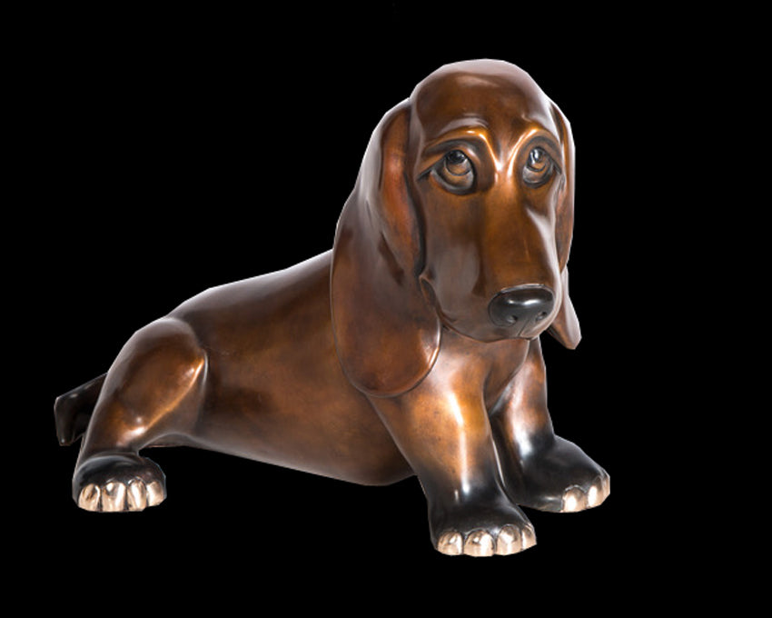 Baxter bronze dog Harvey Dog sculpture by artist Marty Goldstein