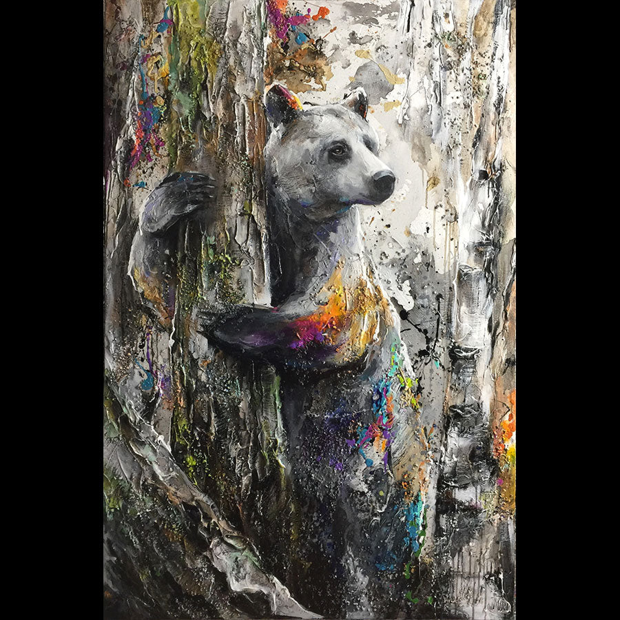 Bear Hugs All Around original mixed media bear painting by artist Miri Rozenvain at raitman art galleries