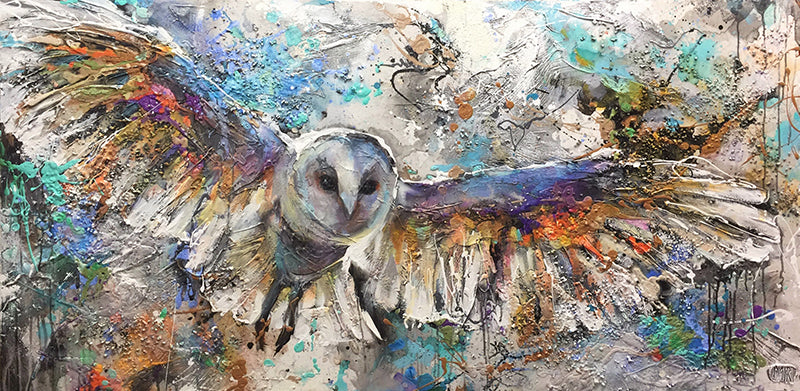Beautiful Skies origional acrylic and mixed media wildlife owl painting by Toronto artist Miri Rozenvain