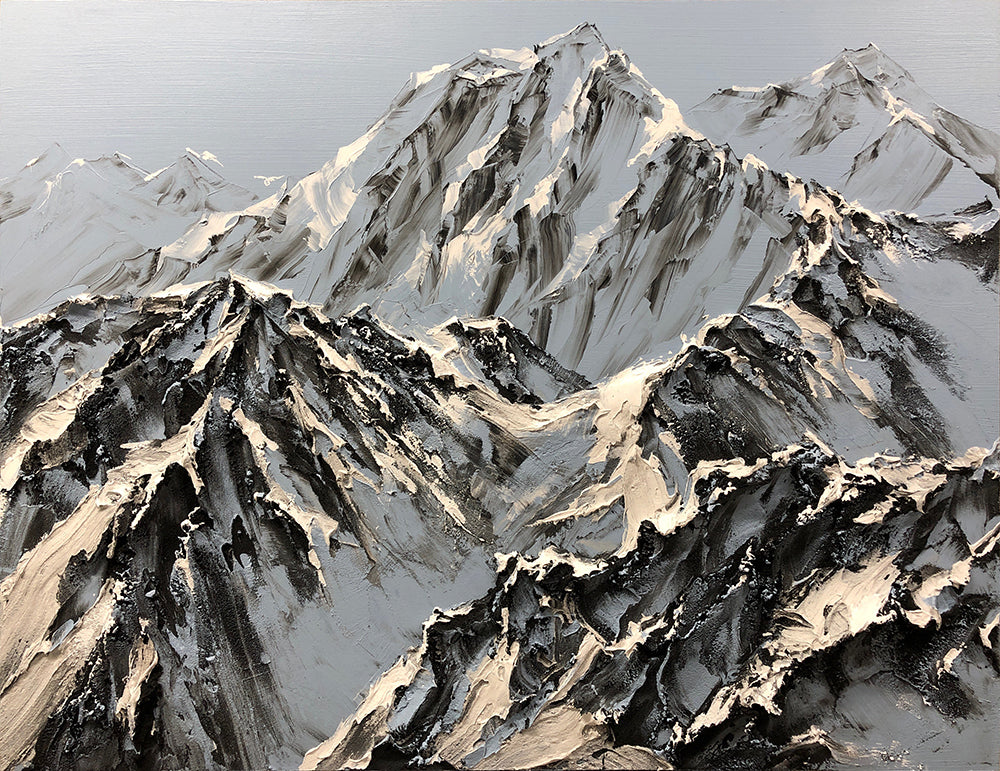 Barak Rozenvain Original Painting of Mountains- Beautiful Blues