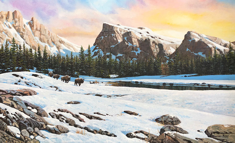 Bison Trails original oil on canvas mountain winter landscape with wild bison by Colorado artist Maxine Bone