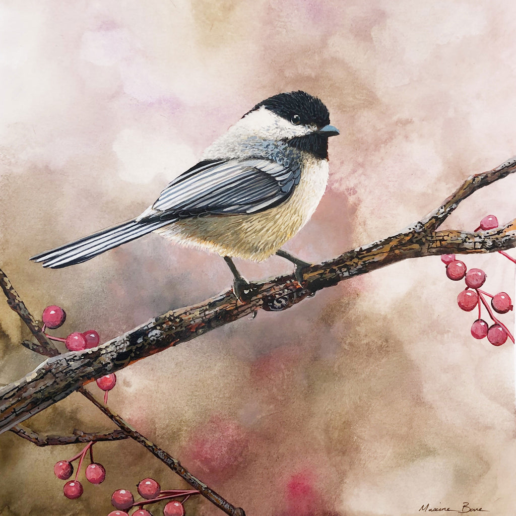 Black Capped Chickadee original bird painting by Colorado Springs artist Maxine Bone