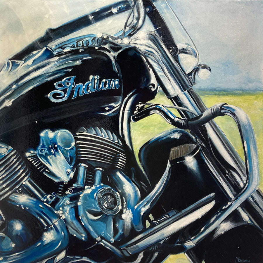 Indian Motorcycle oil painting by Noemi Kosmowski for sale at Raitman Art Galleries located in Breckenridge and Vail Colorado