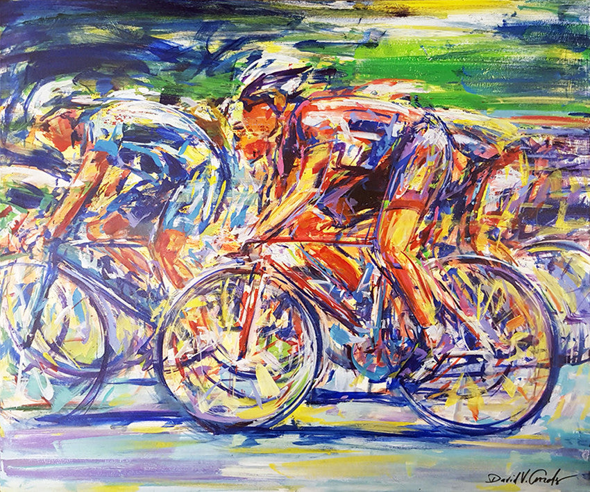 Biking Painting by artist David Gonzales