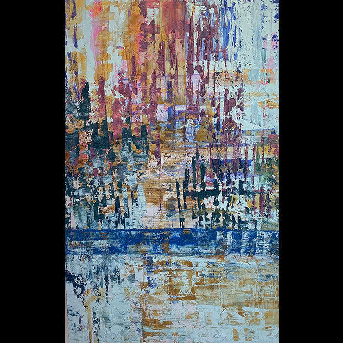 Blue River Reverence original abstract oil painting by Polish artist Kristof Kosmowski