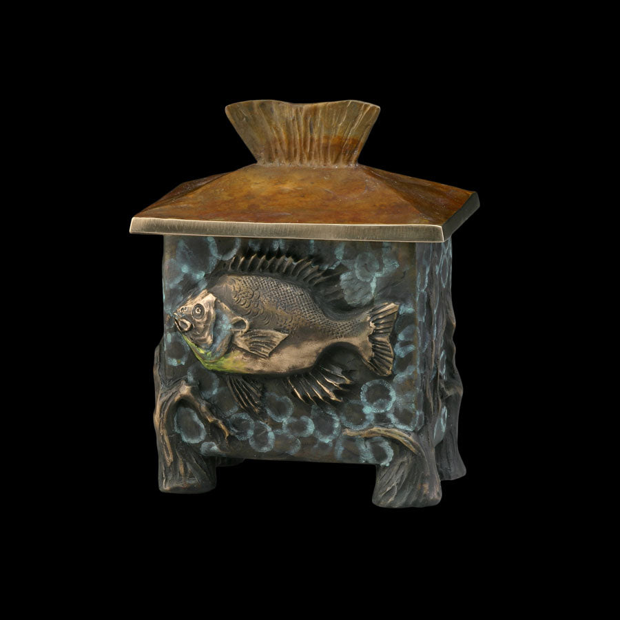 Bluegill bronze vessel by Colorado artist James G Moore