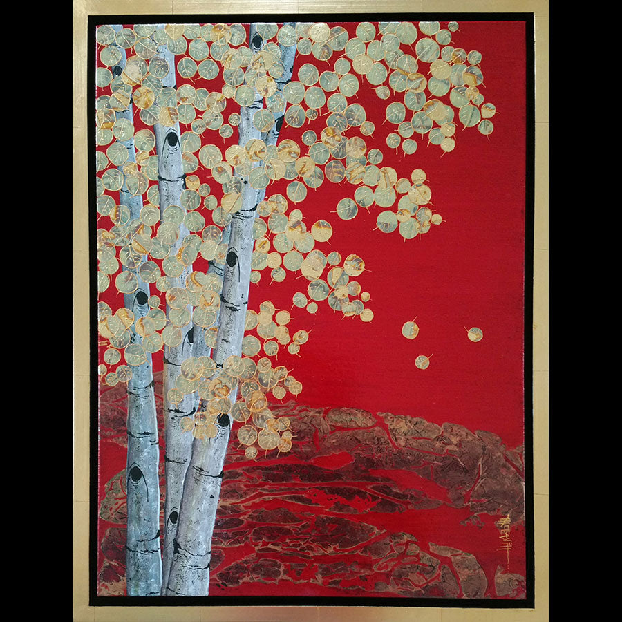 Aspen painting with gold leaf by artist Kate McCavitt