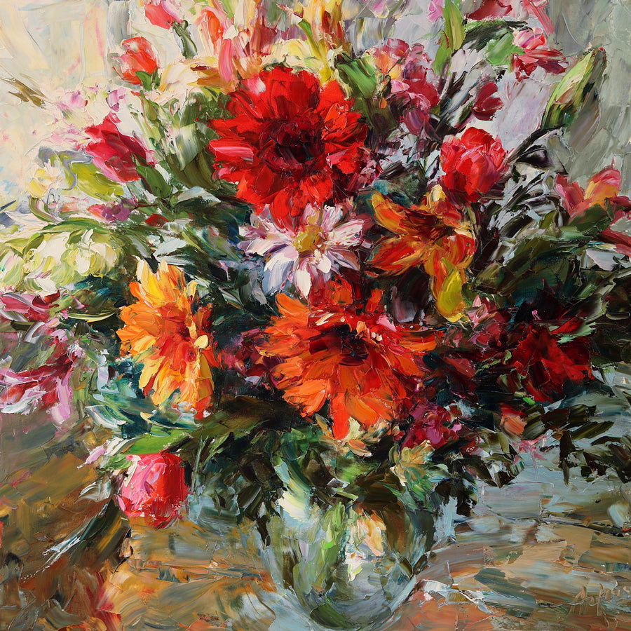 Bouquet with Gerbera Daises original flower painting by Lyudmila Agrich for sale at Raitman Art Galleries