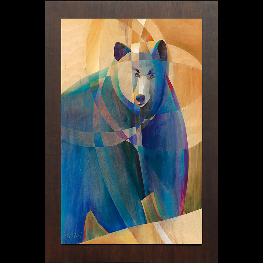 Colorado artist Cynthia Duff Original Painting on Wood of Bear: Bruin Quest