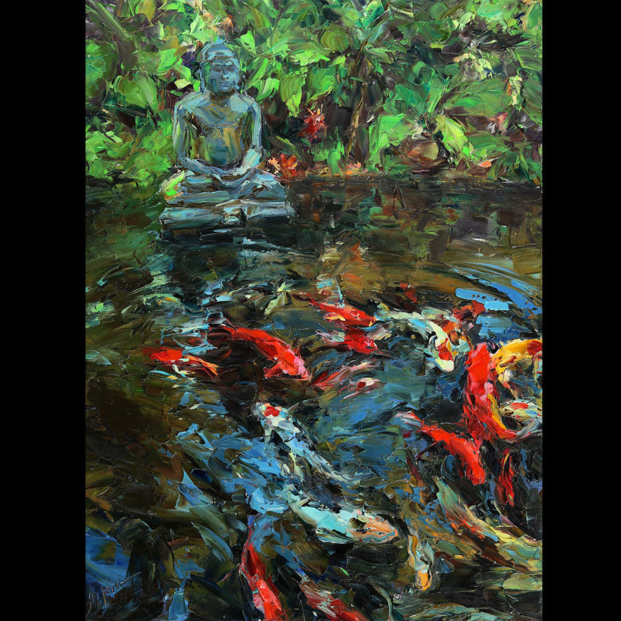 Buddha Pond original oil on canvas painting by Denver Colorado artist Lyudmila Agrich