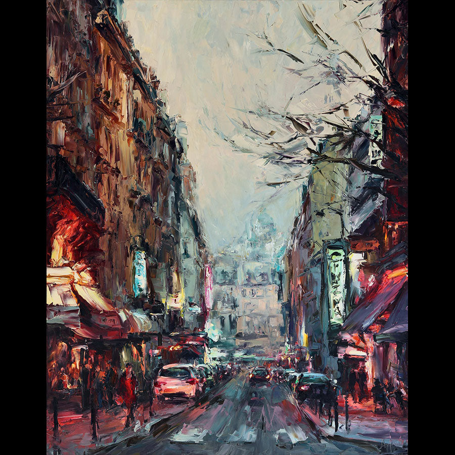 Burgundy Dusk city painting by Lyudmila Agrich for sale at Raitman Art Gallery