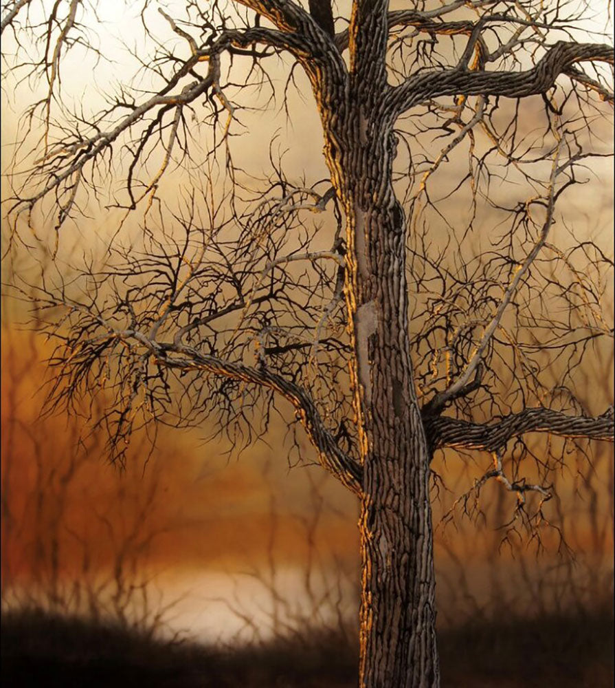 Butterscotch original carved acrylic and paint landscape painting by Colorado artist Christopher Owen Nelson