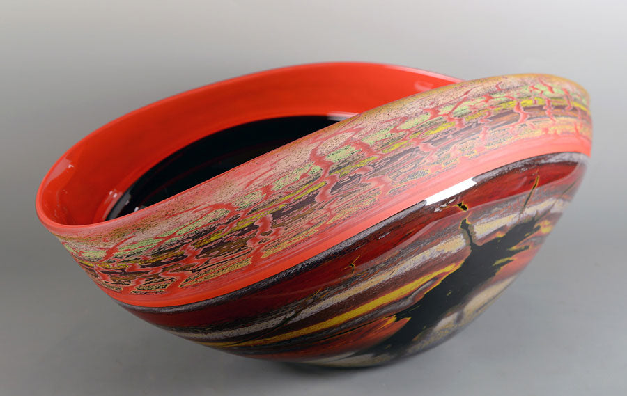 Canyon Walls - Inclamo Vessel Blackhand blown glass by artist Jared and Nicole Davis
