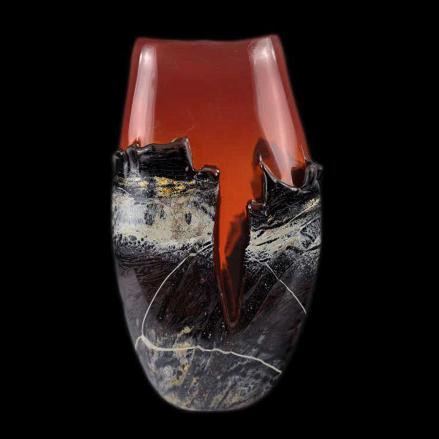 Canyon Vista Red hand blown glass art by artists Jared and Nicole Davis from Crawford Colorado North Rim Studio