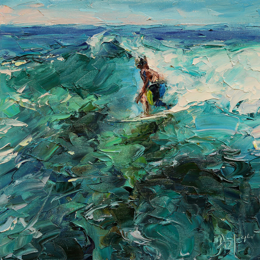 Catching Wave original surf painting by lyudmila agrich for sale at Raitman Art Galleries